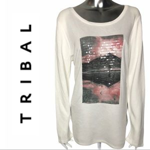 NWT Tribal Jeans Cream Long Sleeve Graphic T-shirt